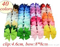Wholesale infants stockings resale online - 40colors ins girls big bow clips hairpin infant baby Inch Grosgrain Ribbon Barrette Bows Kids Boutique Bow Barrette free ship stock