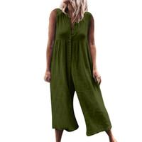 armée femmes achat en gros de-2019 Date Casual Combinaisons Femmes Sans manches Barboteuse Élégant Bouton Pantalon Large Jambe Gris Armée Vert Combinaison O-cou Dame Combinaison