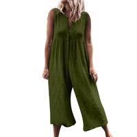 armeefrauen insgesamt großhandel-2019 neueste beiläufige Overall-Frauen-Sleeveless Spielanzug-elegante Knopf-breite Bein-Hosen-graue Armee-Grün-Overall-Oansatz Dame Overalls