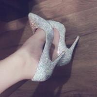 kadın yapay elmas yüksek topuklu ayakkabı toptan satış-Seksi Rhinestone Yüksek Topuklu Ayakkabı, Lüks Kırmızı Alt Sivri Pompalar, Bayan Marka Kırmızı Tek Kristal Gelinlik Ayakkabı topuk 12-10-8 cm 34-45
