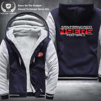 ingrosso zippers usa-Dropshipping formato USA unisex SF 49ERS uomo donna inverno addensare pile felpa con cappuccio cerniera felpa giacca costume tuta fatta