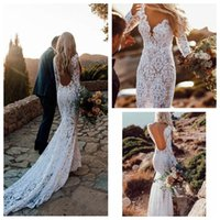 Wholesale fish mermaid wedding gown for sale - Group buy Exquisite See Through Deep V Neck Mermaid Lace Wedding Dresses Bridal Gowns Long Sleeve Pearls Beaded Fish Tail Meerjungfrau Brautkleider