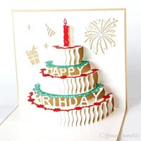 Wholesale birthday cake pop up resale online - 3D Pop UP birthday cake Greeting Blessing Cards Handmade paper silhoue Creative Happy christmas cards
