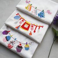 lila tischgewebe großhandel-100pcs / lot Absorbent gestickten Tuch Serviette Küchentücher Fotografie Props 45x70cm