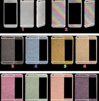 pele do lado do iphone venda por atacado-MODA Luxurious Full Body Bling Diamante brilhante brilho do arco-íris Frente Verso Sides tampa Adesivo da pele para 6 6G 6p 7 7plus X XR max