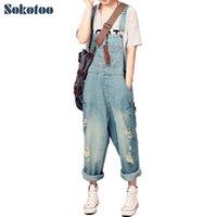 süngerimsi kot pantolon toptan satış-Sokotoo kadın Casual Gevşek Denim Tulum lady Boy Delik Delikli Yırtık Kot Yırtık Bacak Pantolon Kadın Için Y19060501