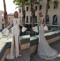 Wholesale lace wedding cuff resale online - 2019 Julie Vino Mermaid Beach Wedding Dresses Jewel Neck Backless Lace Bridal Gowns Double Slit Puffy Cuff Wedding Dress Cheap