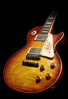 ingrosso chitarre acero fiammato-Personalizzati 1959 R9 VOS Iced Tea Sunburst Jimmy Page Chitarra elettrica Tiger Flame Maple Top JP # 58 Chitarre Signature