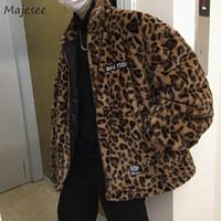 leopar standı toptan satış-Parkas Erkekler Kalın Standı Yaka Leopar Baskı Gevşek Harajuku Parka Erkek Kore Retro Yumuşak Boy Hip Hop Trendy Giyim