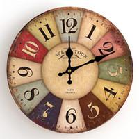 mur de la tour eiffel achat en gros de-Haute Qualité Horloges Rondes Vintage Muet En Bois Horloge Murale À Quartz Tour Eiffel Big Ben Motif Montre Populaire 12 5dy BB