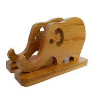 elefante de telefone parado venda por atacado-Eco-friendly Cutie Dupla Elefante De Bambu Desktop Stands Suportes Suportes Universal Racks Suporta Cradles Dock para Celulares e Tablets