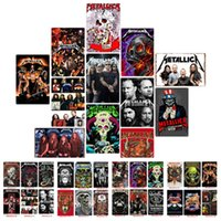 ingrosso quadri di moda d'epoca-Fashion Rock Band poster Metallica Vintage wall art dipinti moderni Targhe in metallo Old Metal Wall Painting Bar Accenti per la casa WallpaperT2I5357