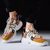 top hip hop spor ayakkabıları toptan satış-Bahar Erkek Hip Hop Yüksek top Ayakkabı Gz Renkli Kanye Tıknaz Sneakers Çapraz Bağlı Tenis Rahat Nefes Ayakkabı Zapatos Hombre
