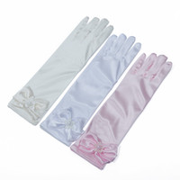 Wholesale kids princess gloves for sale - Group buy Kids Bow Pearl Gloves Child Girl Satin Pearl Flower Bow Gloves Short Children Princess Dance Gloves