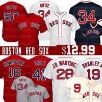 beyzbol formaları kırmızı toptan satış-50 Mookie Betts Boston 28 JD Martinez Kırmızı 2019 Sox forması 19 Jackie Bradley Jr 16 Andrew Benintendi Dustin Pedroia Beyzbol Formaları