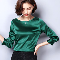Women Blouses Casual OL Silk Blouse Autumn Loose Basic Satin Shirt Work Wear Blusas Feminina Tops Shirts Plus Size XXXL Pink Red T200321