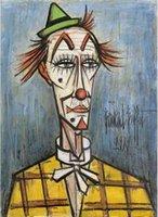 nackte leinwanddrucke großhandel-Bernard Büffet Clown blanc au chapeau vert 1989 Hochwertiges handgemaltes HD-Druck-Kunst-Ölgemälde in verschiedenen Größen
