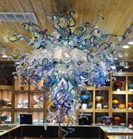 lámpara de comedor azul al por mayor-Chihuly Blue Glass Chandelier LED Montaje empotrado Accesorios de iluminación Sala de estar Comedor Arte Decoración Modern Chandelier con bombillas LED