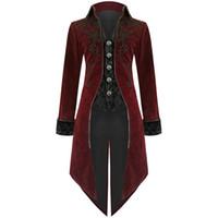kühlen graben großhandel-SHUJIN 2019 Männer Vintage Gothic Lange Jacke Herbst Retro Cool Uniform Kostüm Trenchcoat Steampunk Frack Button Coat Männlich