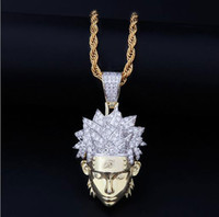 zirconia cúbicos collares de diamantes al por mayor-14K GOLD ICED OUT CZ BLING NARUTO COLLAR COLLAR HOMBRE HIP HOP Micro pave Circonita cúbica Diamantes simulados Collar