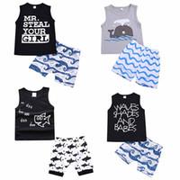 roupa do tubarão dos miúdos venda por atacado-Conjuntos de roupas de crianças verão bebê menino roupas dos desenhos animados impressão tubarão peixe para meninos roupas criança moda t-shirt shorts crianças ternos c4321