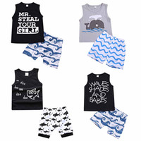 desenhos animados da roupa da forma venda por atacado-Crianças Conjuntos de Roupas de Verão Do Bebê menino Roupas Dos Desenhos Animados Peixe Tubarão Impressão para Meninos Outfits Criança Moda T-shirt Shorts Crianças Ternos C4321