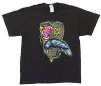 ворон черный оптовых-HIM H. I. M. Raven Rose гроб осенний тур 2007 США CDN черная футболка новый официальный