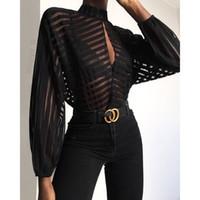 bluzlar aracılığıyla seksi görmek kadınlar toptan satış-Çizgili Anahtar Deliği Ön Mesh Bluz Kadınlar Hollow Out Womens See Through Tops ve Bluzlar Seksi Parti Üst blusas mujer de moda 2019