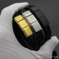 beliebtesten armbänder großhandel-2019 Edelstahl MB-Armband Europas beliebtestes Armband Schwarze Echtlederkette mit Geschenkbox