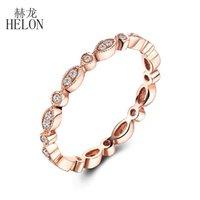 ingrosso anello in oro rosa impostato a lunetta-Helon Belle Diamanti Band Solido 14k Rose Gold Pave Bezel Impostazione Diamond Diamond Ring naturale Art Deco Antique Anniversary Band J190613