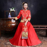 Wholesale evening wedding clothes resale online - Chinese Star style wedding show Embroidery cheongsam gown robe clothing pratensis dragon gown evening dress noiva Qipao Vestido