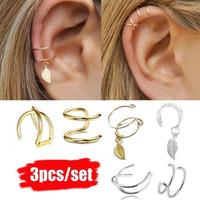 aretes de oro para cartilago al por mayor-3 Unids / set Simple Ear Cuffs para Mujeres Plata Hoja de Oro Ear Cuff Pendiente Escaladores Clip de Oreja Cruzada Sin Piercing Pendiente de Cartílago Falso