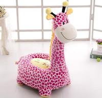 fasulye yuvası toptan satış-Karikatür Bebek Yastık Bebek Sandalyesi Fasulye Torbası Sevimli Zürafa Besleme Sandalye Çocuk Koltuk Kanepe Çocuklar Için Uyku Yatak Bebek Yuva Puf Sandalye
