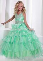 зелёные брюки оптовых-2019 Новые платья для маленьких девочек Apple Green Органза бальное платье из бисера Принцесса Цветочница платье для свадьбы с ремнями