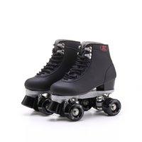 ligne hommes adultes achat en gros de-Patins à roulettes Double Line Skates Noir Avec Noir PU Roues Hommes Adulte F1 Racing 4 Roues Deux Ligne Roller Skate Chaussures