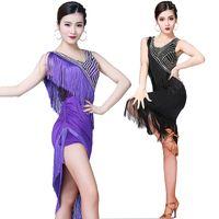 ingrosso abiti da frange della sala da ballo-2019 New Paillettes Dress Latin Jazz Dance Performance Wear Dress Women Sexy Frangia Abiti Salsa / Ballroom / Tango / Cha Cha