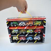 mini carros do bebê venda por atacado-12 Pacote Puxar Para Trás Mini Carros Brinquedos Loja de Máquinas Móveis Veículo de Construção Caminhão de Bombeiros Modelo de Táxi Do Bebê Mini Cars Presente Crianças Brinquedos