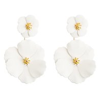 Wholesale hypoallergenic earrings for women for sale - Group buy Multilayers Over Size Flower Shape Earring Handmade Jewelry Hypoallergenic Stylish Earring For Women Girl White