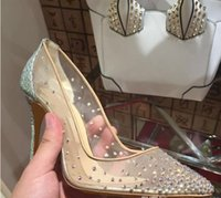 zapatos de boda sexy cristales al por mayor-Moda Mujeres Sexy Bombas Peep Toe Crystal Hebilla Correa de fiesta / zapatos de boda Golden Air Mesh Ver a través de la correa del tobillo # 9022