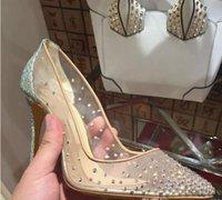 malha sapatos de casamento venda por atacado-Moda Sexy Mulheres Bombas Peep Toe Cristal Buckle Strap Party / sapatos de Casamento Dourado Air Mesh See-through Tira No Tornozelo # 9022