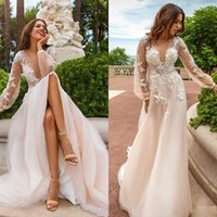Wholesale see through flower wedding dress resale online - Champagne Lace Appliques Wedding Dresses Summer Deep V Neck See Through Back With Button Handmade Flowers Sweep Train Bridal Gowns