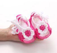 вязание для девочек оптовых-Baby Girl Kid Infant Handmade Crochet Knit Flower Pearl Sandals Toddler Soft Comfortable Cute Beatiful Shoes