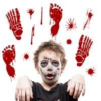 etiquetas de easter venda por atacado-Nova Decoração de Halloween Horror Bloody Fingerprint Wall Window Stickers Pegada de Sangue Bar de Páscoa Club Party Supply