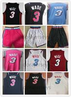 vadear baloncesto al por mayor-NCAA 2019 New Men College Dwyane Wade jersey Jerseys de baloncesto cosidos Wade Blanco Negro Azul pantalones cortos Bordado Wade camisas Envío rápido
