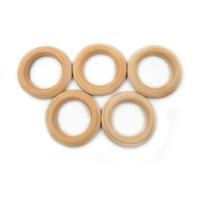ingrosso i monili della collana dei branelli di legno-50 Pz 40mm Qualità Legno Naturale dentizione perline Anello di Legno Per Bambini Bambini FAI DA TE Gioielli in legno Fare collana bracciale artigianale