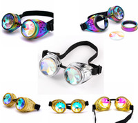 Wholesale color kaleidoscope for sale - Group buy Kaleidoscope Glasses Steam Punk Man And Women Dazzling Color Goggles Creative Street Pat Trend Party Cosplay Eyewear MMA2031