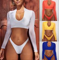 malha de banho para mulheres venda por atacado-Swimwear Para As Mulheres de Cintura Alta De Malha Mangas Compridas Conjunto Bikinis Alta Corte Sexy Swimsuits Sunscreen Praia Desgaste Biquíni traje da bagn Maiô