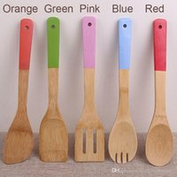 5 Colors Bamboo Spoon Spatula Portable Wooden Non-Stick Shovel Soup Spoon Kitchen Cooking Slotted Spatula Mixing Holder Shovels BH2298 ZX