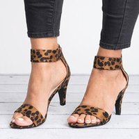 sandalias de tacones de verano nuevo gatito al por mayor-Summer Women Pumps Leopard High Heels Suede Women Shoes New Kitten Heels Sandals Classic Pumps Plus Size 43