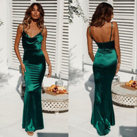 Wholesale champagne silk satin dresses resale online - Hot Sale Dark Green Sexy Open Back Spaghetti Mermaid Prom Dresses Sleeveless Long Sheath Cheap Evening Party Gowns Custom Made Wear